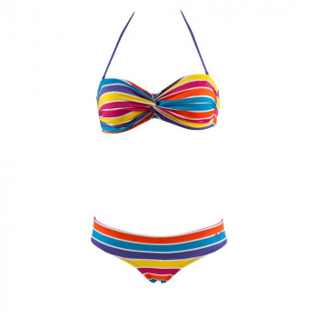 STRIPES TWISTED BANDEAU TWO-PIECES SWIMS